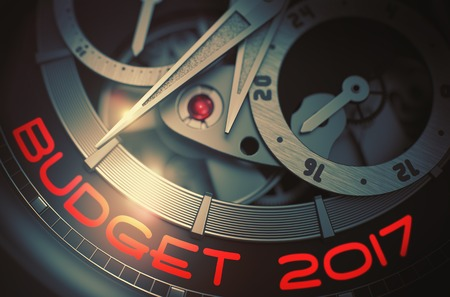 Budget 2017 on Elegant Wrist Watch Mechanism. 3D. Stock Photo