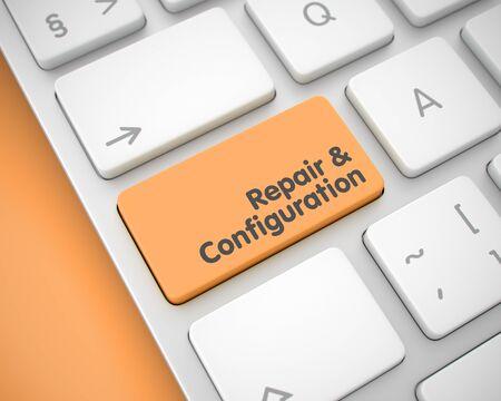 pc tune: Repair And Configuration - Inscription on Orange Keyboard Keypad Stock Photo
