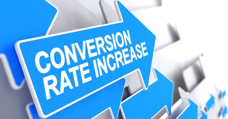 alteration: Conversion Rate Increase - Label on Blue Pointer. 3D.