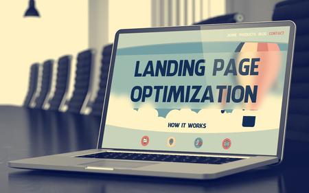 meta: Laptop Screen with Landing Page Optimization Concept. 3D.