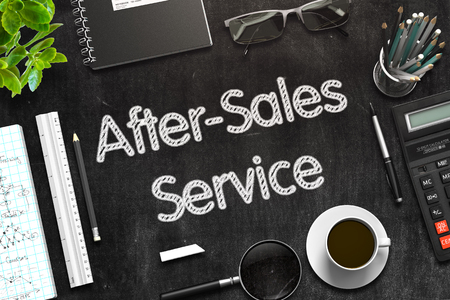 Black Chalkboard with After-Sales Service. 3D Rendering. Stock Photo