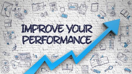 potency: Improve Your Performance Drawn on White Brick Wall.