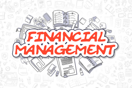 Financial Management - Doodle Red Text. Business Concept. Stock Photo