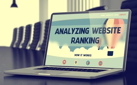 targetting: Analyzing Website Ranking - on Laptop Screen. Closeup. 3D.