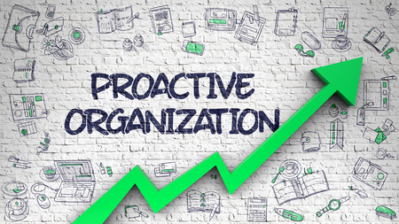 Proactive Organization Drawn on Brick Wall. Stock Photo