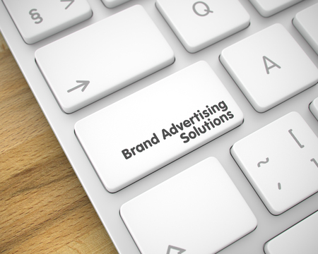 Brand Advertising Solutions - Text on the White Keyboard Key. 3D