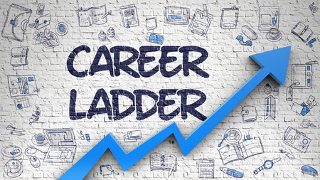 career ladder: Career Ladder Drawn on Brick Wall.
