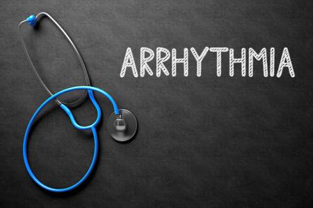 tachycardia: Chalkboard with Arrhythmia. 3D Illustration. Stock Photo