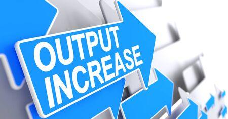throughput: Output Increase - Text on the Blue Arrow. 3D.