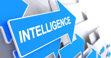 Intelligence - Text on Blue Pointer. 3D.