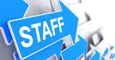 Staff - Text on the Blue Pointer. 3D.