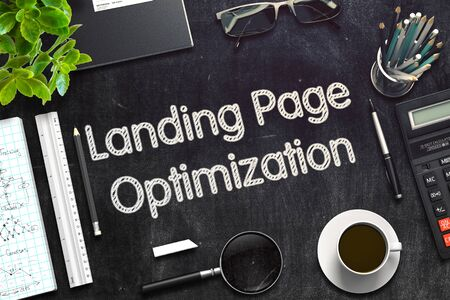 Landing Page Optimization on Black Chalkboard. 3D Rendering.