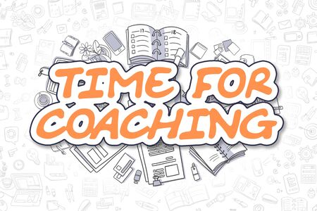 necessity: Time For Coaching - Cartoon Orange Text. Business Concept. Stock Photo
