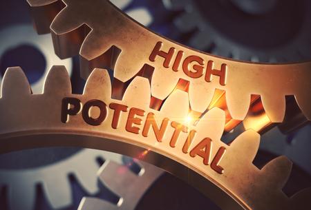 High Potential on Golden Cog Gears. 3D Illustration.