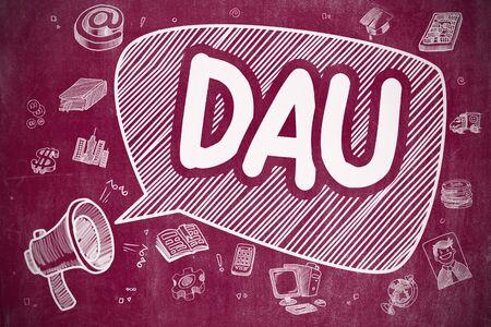 DAU - Cartoon Illustration on Red Chalkboard. Stock Photo