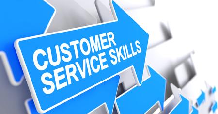 Customer Service Skills - Text on the Blue Cursor. 3D.