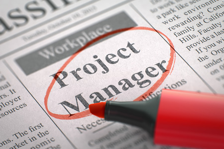 initiating: Were Hiring Project Manager. 3D. Stock Photo
