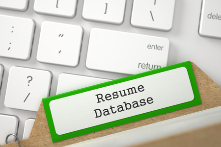 File Card with Resume Database. 3D.