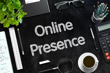 web presence internet presence: Online Presence Concept on Black Chalkboard. 3D Rendering.