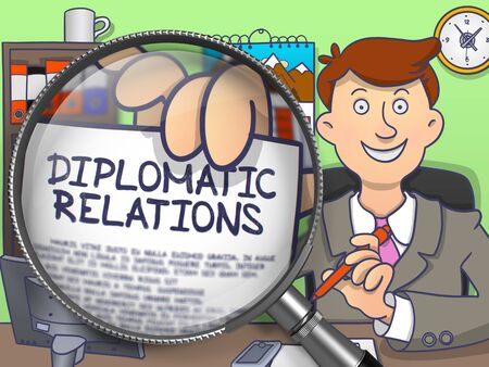 tact: Diplomatic Relations through Magnifying Glass. Doodle Concept.