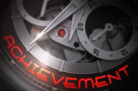 attainment: Achievement on the Elegant Wristwatch, Chronograph Close-Up. Old Wrist Watch with Achievement Inscription on Face. Business Concept with Glow Effect and Lens Flare. 3D Rendering.