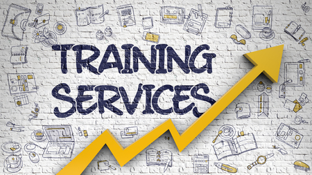 Training Services Drawn on White Wall. Stock Photo