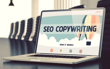 rewriting: SEO Copywriting on Laptop in Conference Room. 3D.