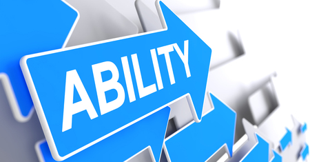 Ability, Text on Blue Cursor. Ability - Blue Pointer with a Inscription Indicates the Direction of Movement. 3D Render. Stock Photo