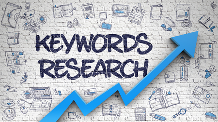 relevance: Keywords Research - Modern Style Illustration with Doodle Design Elements. Keywords Research - Success Concept with Doodle Design Icons Around on the White Wall Background.