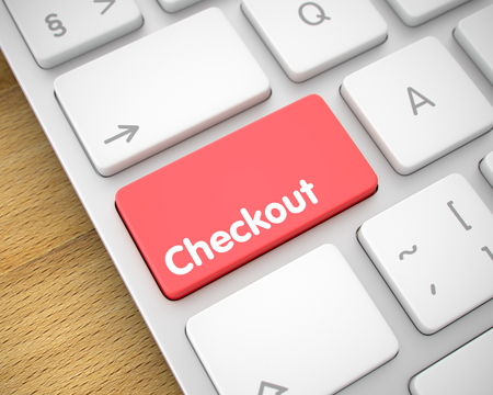 superintendence: Aluminum Keyboard Button Showing the Text Checkout. Message on Keyboard Red Key. Service Concept: Checkout on the Modern Keyboard Background. 3D Render. Stock Photo