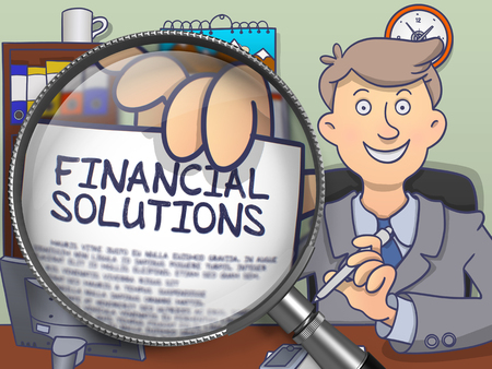 allocate: Financial Solutions through Magnifier. Doodle Concept.