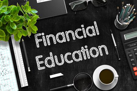 Financial Education on Black Chalkboard. 3D Rendering.