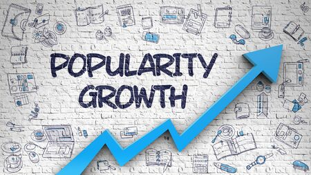 popularity: Popularity Growth Drawn on White Brick Wall. Stock Photo