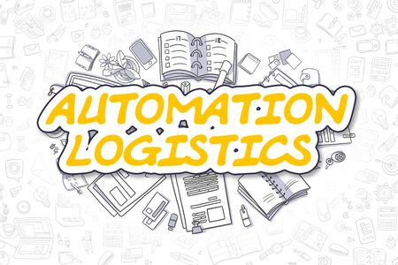 Automation Logistics - Doodle Yellow Text. Business Concept. Stock Photo