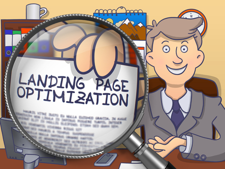 relevance: Landing Page Optimization through Magnifying Glass. Stock Photo
