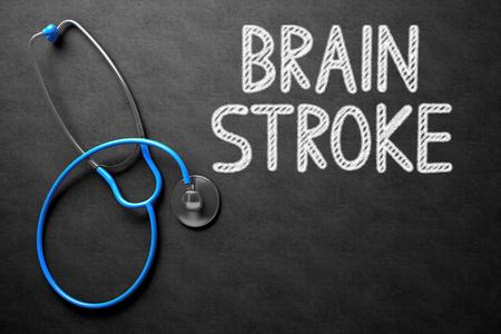 pathogenesis: Brain Stroke on Chalkboard. 3D Illustration. Stock Photo