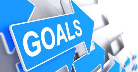 smart goals: Goals - Message on the Blue Pointer. 3D.