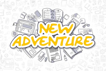 New Adventure - Cartoon Yellow Word. Business Concept.