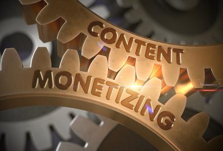 Content Monetizing - Illustration with Glowing Light Effect. Content Monetizing Golden Metallic Cog Gears. 3D Rendering. Stock Photo