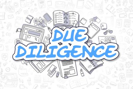 デューデリジェンス - 漫画の青い碑文。ビジネス コンセプトです。 写真素材