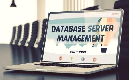 keeping room: Database Server Management on Laptop in Conference Room. 3D.