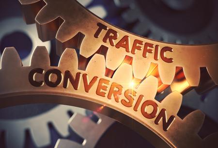 Traffic Conversion on Golden Cog Gears. 3D Illustration. Banque d'images