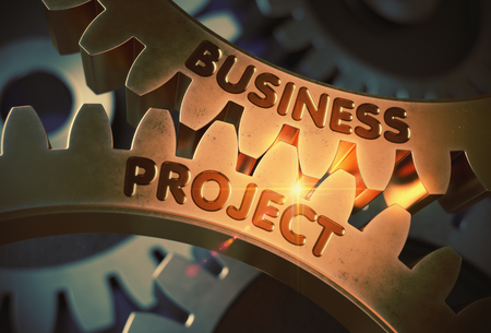 Business Project on the Golden Cog Gears. 3D Illustration. Stock Photo