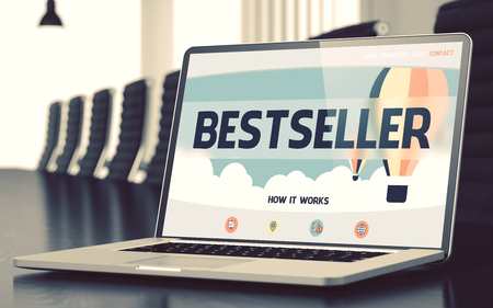 marketeer: Laptop Screen with Bestseller Concept. 3D.