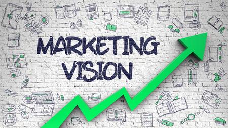 Marketing Vision Drawn on White Brickwall. 版權商用圖片