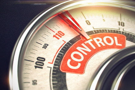 superintendence: Control - Caption on Conceptual Dial with Red Needle. 3D. Stock Photo