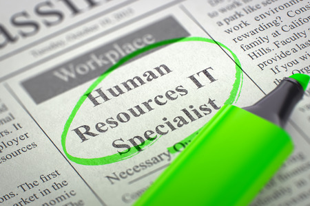 Human Resources IT Specialist Hiring Now. 3D. Stock Photo