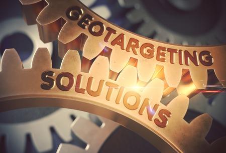 Geotargeting Solutions on Golden Cogwheels. 3D Illustration.