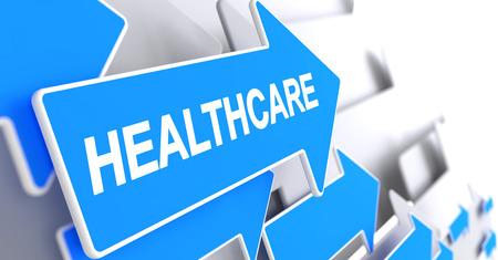 provision: Healthcare - Inscription on Blue Pointer. 3D.