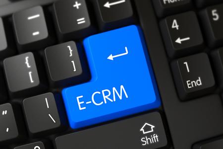 E-CRM CloseUp of Blue Keyboard Key. 3D.